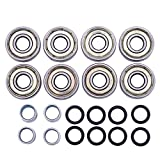 inline skate wheel spacer - AdventureWorld 608ZZ ABEC-7 Skate Wheel Bearings, Spacers and Washers Kit (Skateboard and Inline Skate) (8 Wheel Pack (16 bearings, 16 washers, 8 spacers))