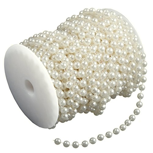Ambox 8 mm Large Ivory Pearls Faux Crystal Beads by the Roll for Flowers Wedding Party (Mother Of Pearl Flower Beads)