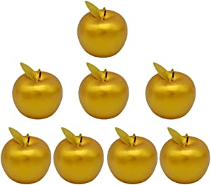 ChezMax Artificial Fruits 8 Pack Golden Apple with Leaf Decorative Fruits for Home Party Christmas Decoration