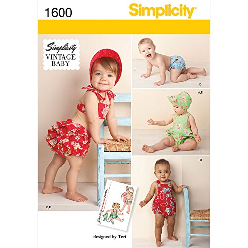 Simplicity 1600 Vintage Baby Romper Sewing Patterns, Sizes -