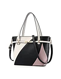 Nevenka Top Handle Handbag Purse High Capacity PU Leather Crossbady for Women Girl (Black)
