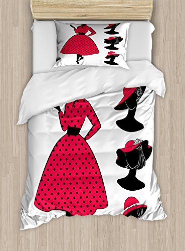 Lunarable Vintage Modern Twin Size Duvet Cover Set, Silhouette of a Woman with Sixties Style Polka Dotted Dress and Hat, Decorative 2 Piece Bedding Set with 1 Pillow Sham, Pink (60s 2 Piece Dress)
