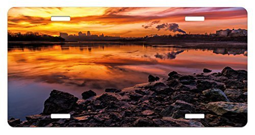 zaeshe3536658 Landscape License Plate, USA Missouri Kansas City Scenery of a Sunset Lake Nature Camping Themed Art Photo, High Gloss Aluminum Novelty Plate, 6 X 12 Inches. by zaeshe3536658