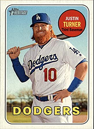 2018 Topps Heritage #312 Justin Turner Los Angeles Dodgers Baseball Card