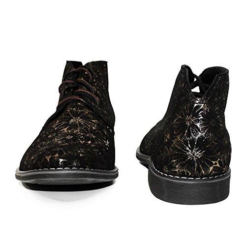 PeppeShoes Modello Goldinero - Handgemachtes Italienisch Leder Herren Gold Stiefeletten Chukka Stiefel - Rindsleder Wildleder - Schnüren