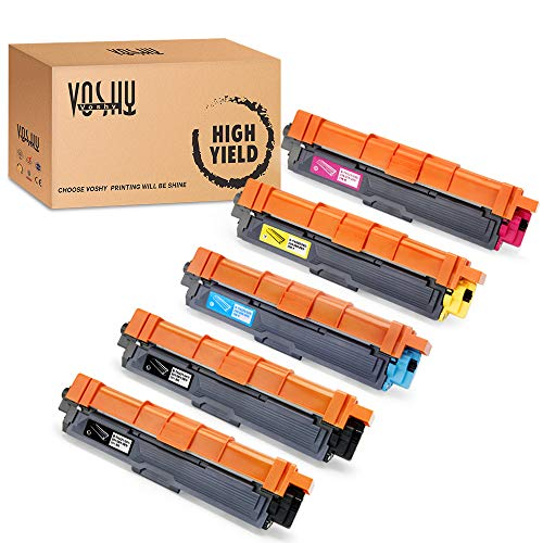 Voshy Compatible TN221 TN225 Toner Cartridge Replacement for Brother TN-221 TN-225, Work with Brother HL-3170CDW MFC-9130CW MFC-9340CDW MFC-9330CDW HL-3140CW HL-3180CDW Toner, 5 Pack (2BK, 1C, 1M, 1Y)