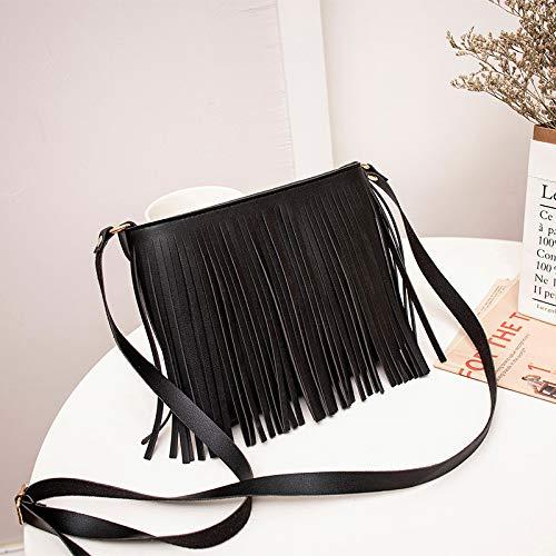 MaxFox Women Retro Shoulder Bag Tassel Leather Square Messenger Satchel Crossbody Tote Handbag for Cell Phone &Coin (Black) by MaxFox (Image #3)