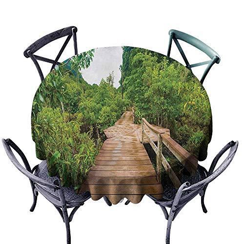 Pcglvie Round Tablecloth Forest Wood Bridge Around Mangrove Forest Thapom Krabi Thailand Natural Landscape Pale Brown Green Party D39