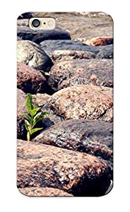 Tpu Case Cover Design Compatible For Iphone 6/ Hot Case/ Plant Growing Through The Beach Rocks