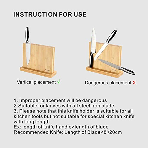 Luxury Magnetic Knife Block Holder with Enhanced Magnets, Eco-friendly Bamboo, Knife Organizer Block, Knife Dock, Cutlery Display Stand and Storage Rack, Large Capacity, Easy to Reach, Easy to Clean by KITCHENDAO (Image #5)