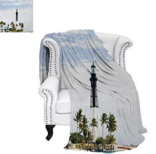 Throw Blanket Hillsboro Lighthouse Pompano Beach Florida Atlantic Ocean Palms Coast Warm Microfiber All Season Blanket for Bed or Couch 60