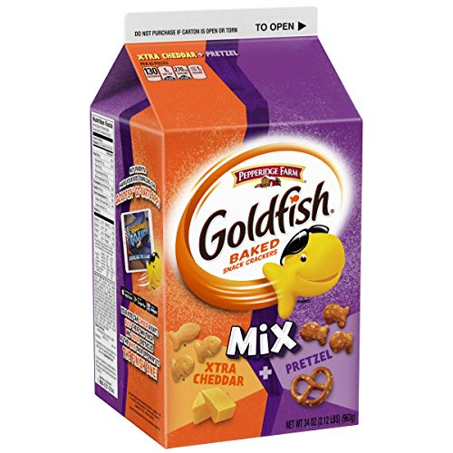 Pepperidge Farm Goldfish Mix Xtra Cheddar + Pretzel Crackers, 34 Ounce
