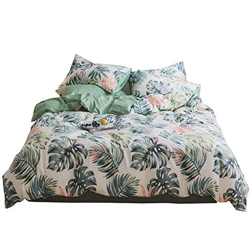 FenDie Tropical Leaves Lightweight Duvet Cover Set Cotton Reversible Printing Full Bedding Set Zipper Duvet Cover Green Plant Pattern 3 Piece Bedding Collections Queen Size