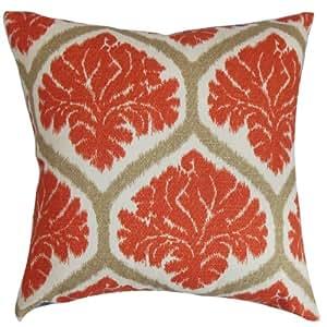 The Pillow Collection Priya Floral Pillow, Russett