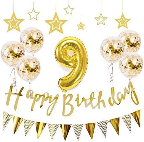 9歳 誕生日 風船 HAPPY BIRTHDAY 風船 アルミニウム 数字(9) お子様誕生日パーティー 豪華 誕生日 飾り付け セット ゴールド(yj-a09)