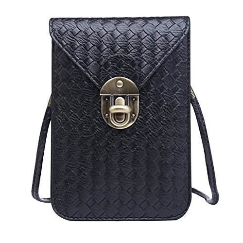 Woven Shoulder Bag PU Leather  Style Purse with Strap