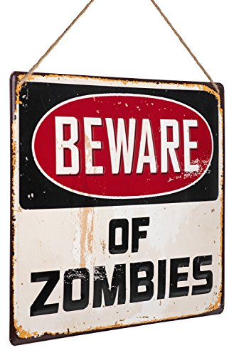 "Monarch Housewares Tin Metal Signs - ""Beware of Zombies"" - Warning Parking Sign, Retro, Novelty, Funny, Distressed, Vintage Style ()"