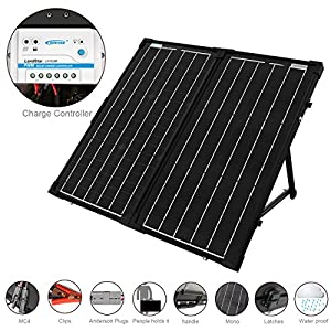 ACOPower 60W Foldable Solar Panel Kit, 12V Battery and Generator Ready Suitcase with Charge Controller