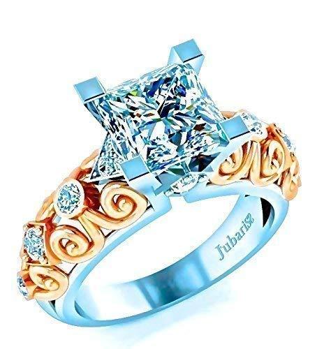 Princess Cut Diamond Engagement Ring Art Deco Custom 1.68 Ctw Two Tone White & Rose Gold Jubariss 14K Fine Jewelry