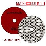 CHANGE MOORE Dry Diamond Polishing Pads 4'' for Marble Granite Travertine Terrazzo Concrete Stones, 2 pack-Grit 400