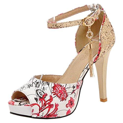 Peep Frauen Sandalen Toe Schuhe TAOFFEN Rot qSw0Hq5d