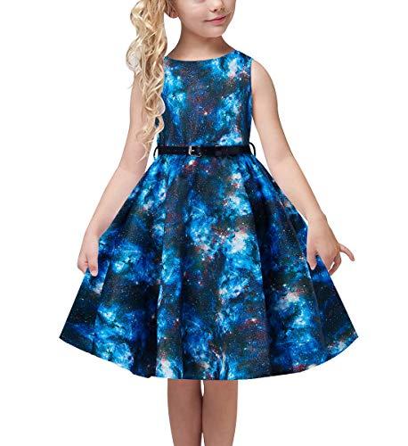 uideazone Kids Girls Galaxy Prints Dress Crew Neck Playwear Skater Twirl Dress Summer Sleeveless Floral Sundress Birthday Gift 12-13 Years Green]()