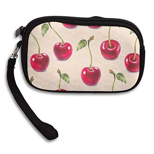 Zipper Small Wallet Cherry Pattern Women's Purse Porte-monnaie Clutch Cards Holder Wallet Purse Business Card - Shops Mall Cherry At Creek