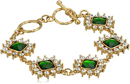 1928 Jewelry Gold-Tone Green Stone and Crystal Toggle Link Bracelet (Jewellery Clearance Tiffany)