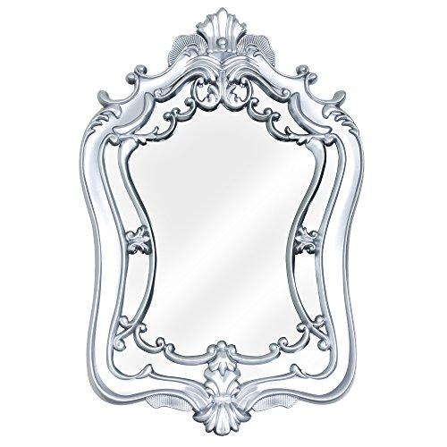 Crystal Art Framed Baroque-Style Vanity Wall Mirror, (Crystal Silver Mirror)