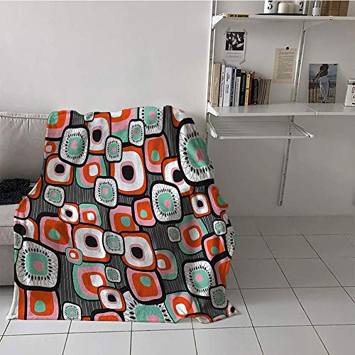 Khaki home Children's Blanket Throw Print Digital Printing Blanket (60 by 70 Inch,Retro,Funky Square Shaped Lava Flowers with Abstract Inner Forms Print,Mint Baby Pink Orange Grey