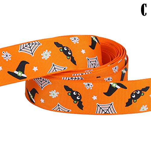 (Case A Toy - 1pc 5yard 25mm Halloween Pattern Grosgrain Ribbons Diy Art Handmade Materials Ribbon Card Gift - Decorations Party Party Decorations Ribbon Case Angel Cloth Shave Flame Shape)