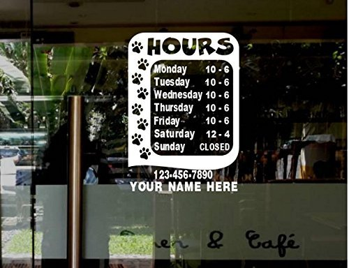 2fcfc92e7571b StickerLoaf Brand STORE HOURS NAME CUSTOM WINDOW DECAL BUSINESS SHOP  Storefront VINYL DOOR SIGN COMPANY pet shop animal rescue shelter cat cats  kitten ...