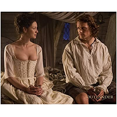 Sam Heughan as Jamie Fraser in Outlander Seated on Bed with Caitriona Balfe 8 x 10 inch Photo