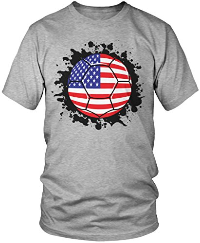 Amdesco USA Soccer Ball, American Flag, USA Soccer Team Pride Men's T-Shirt, Athletic Heather Gray Large