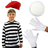 CHILD'S FRENCH MIME FANCY DRESS COSTUME SCHOOL CURRICULUM BOOK WEEK SET BLACK STRIPY T-SHIRT WITH RED BERET KID'S WHITE GLOVES AND WHITE FACE PAINT SIZE SMALL