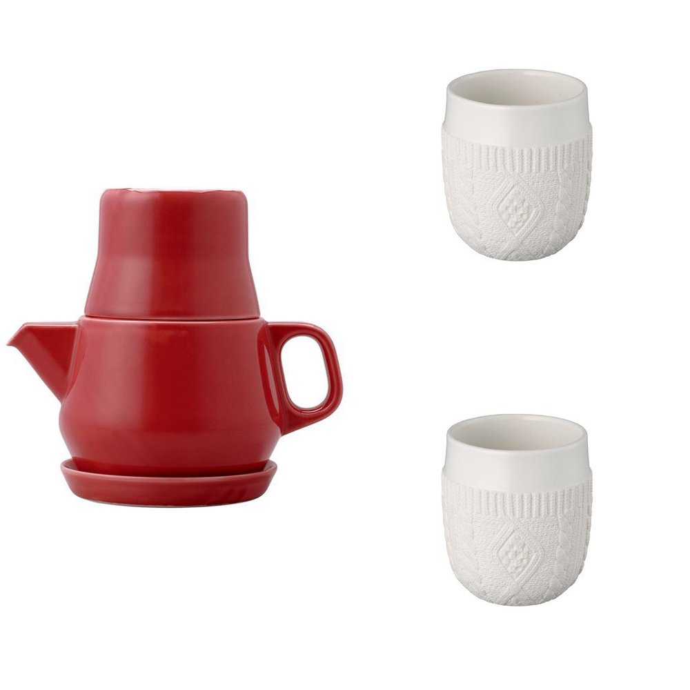 KINTO Red Tea For One and Two Double Wall Cup, Knit, Set of 3