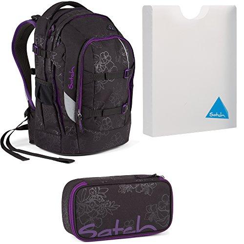 Satch by Ergobag Purple Hibiscus Pack 3er Set Schulrucksack + Schlamperbox + Stylerbox OeNBqUgtpH