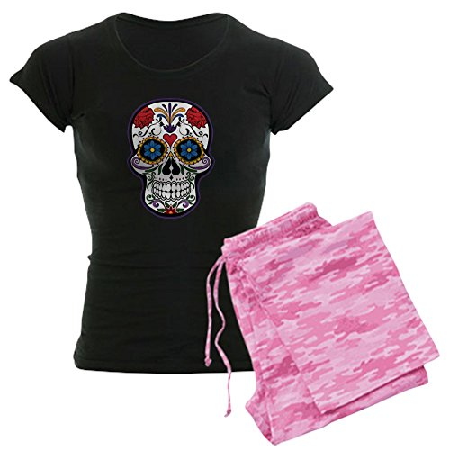 Truly Teague Women's Dark Pajamas Floral Sugar Skull Day of the Dead - Pink Camo, 2X