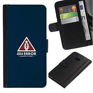 KLONGSHOP // Tirón de la caja Cartera de cuero con ranuras para tarjetas - 404 Error Novia no encontrada divertido - HTC One M8 //
