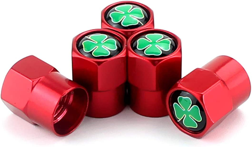 TK-KLZ 5Pcs Metal Lucky Four-Leaf Clover Car Wheel Tire Valve Stem Caps for Alfa Romeo Giulia Stelvio Audi jeep BMW Mercedes Benz Honda VW Chevrolet Corvette Ford Dodge Acura Tesl Decorative Accessory
