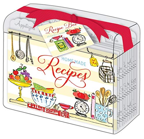 (Rosanne Beck Collections Kitchen Pantry Clear Acrylic Lucite Recipe Box with 10 Recipe Dividers and 20 Recipe Cards)