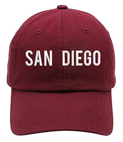 Cap San Diego Halloween Party (San Diego Text Text Embroidered Low Profile Soft Crown Unisex Baseball Dad Hat)