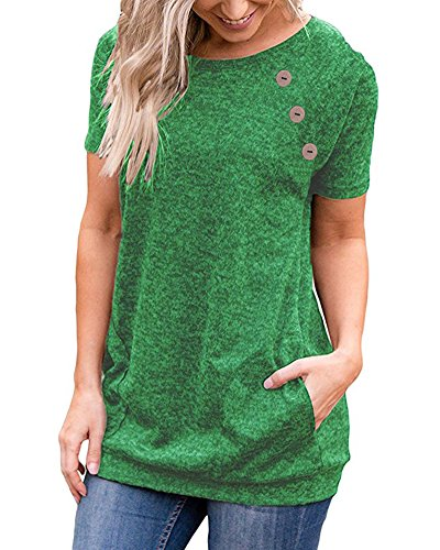 LEANI Women's Casual Short Sleeve Button Decor T-Shirt Tunic Top Summer Solid Color Blouse with Pockets Green