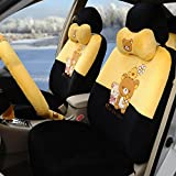 1 set automotive soft plush car seat covers car steering wheel cover universal car seat cushion