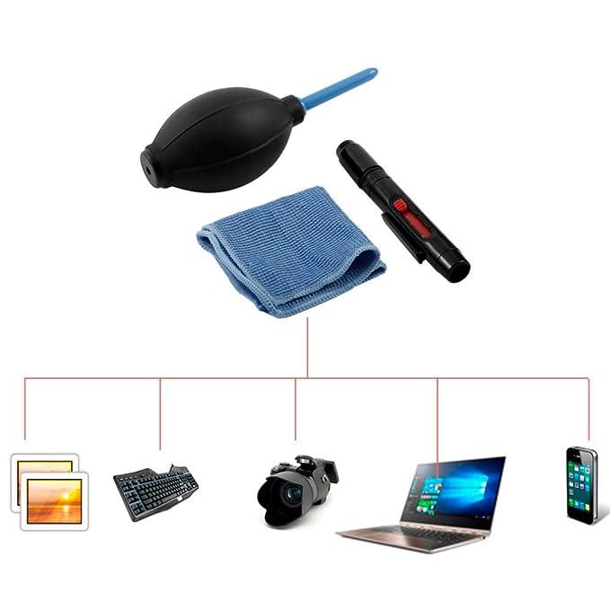 TianranRT 3 en 1 Lente Limpieza Limpiador Polvo Lápiz Ventiladores Toalla Kit para DSLR VCR Cámara: Amazon.es: Hogar