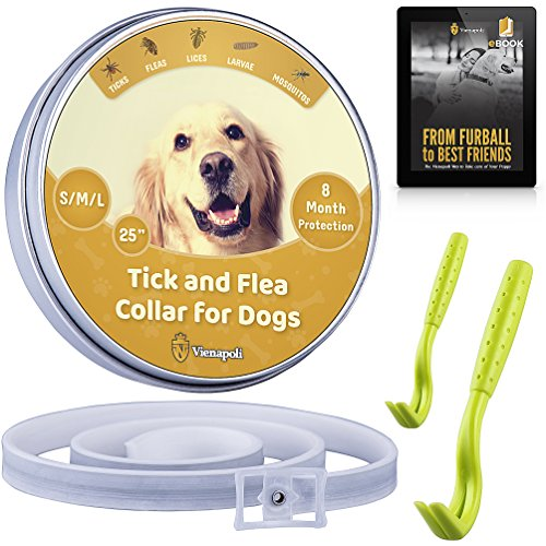 Vienapoli Adjustable Flea and Tick Collar by for Small, Medium and Large Dogs + Tick Remover...