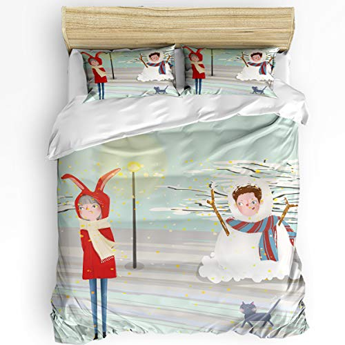 3 Piece Bedding Set Twin, Boyfriend Dressed up as a Snowman and Girlfriend Duvet Cover Set for Girls Boys Children Adult, Ultra Soft and Easy Care Sheet Quilt Sets with Decorative Pillow Covers