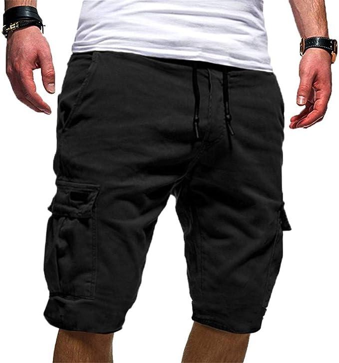 Hombres Cargo Shorts Pantalones Cortos Ropa Algodón Tallas Festiva Grandes Lino Sólido Retro Summer Summer Drawstring Bag Beach Sports Pantalones Hombres Moda Casual Vintage Fitness Jogging Pants: Amazon.es: Ropa y accesorios