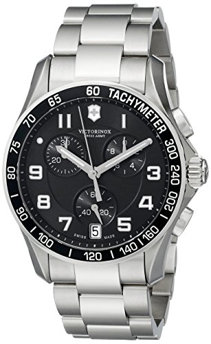 Victorinox Swiss Army 241494 Chrono Classic Watch with Black Dial and Stainless Steel Bracelet