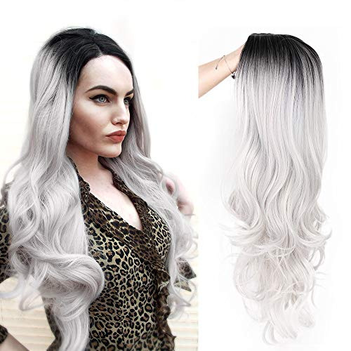 Beauty : ForQueens Ombre Wig Silver Gray Long Wavy Wigs for Women Side Part Body Wave wig Long Heat Resistant Synthetic Full Curly Cosplay Wigs with Free Wig Cap